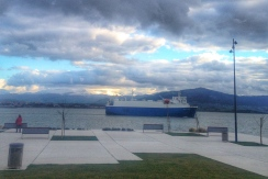 A cargo tanker heads for the docks.