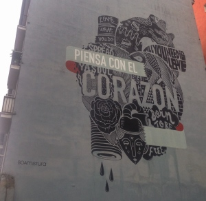 """Piensa on el Corazon"" or ""Think with the Heart"" by the Boamistura art collective. Santander is home to some world class street art."